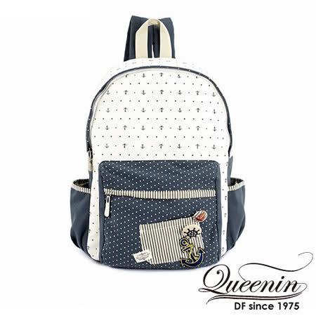 DF Queenin日韓 - 日系水手海洋風帆布款後背包-藍白