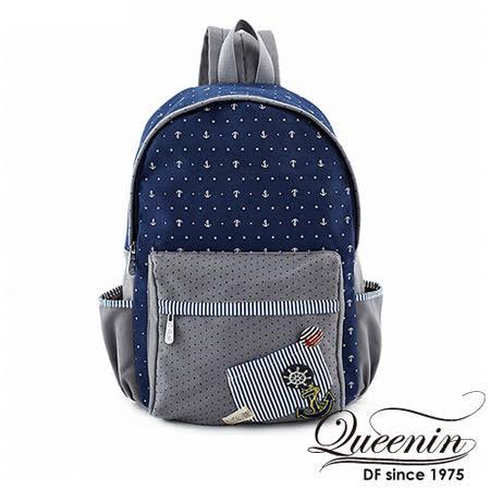 DF Queenin日韓 - 日系水手海洋風帆布款後背包-藍灰