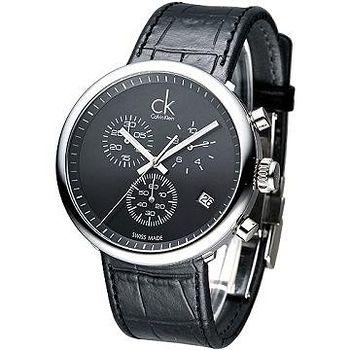 CK 潮男魅力三眼計時腕錶- 黑