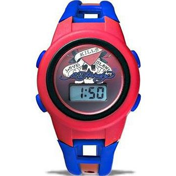 Ed Hardy 經典刺青電子錶 -紅藍