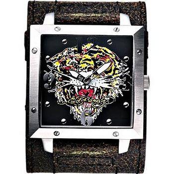 Ed Hardy 猛虎吼刺青寬版仿舊錶 -皮帶