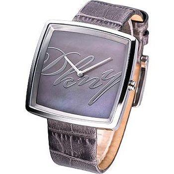 DKNY 方型Logo皮帶女錶 -孔雀色珍珠貝
