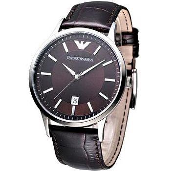 ARMANI 經典大錶徑紳士腕錶 (深咖啡)
