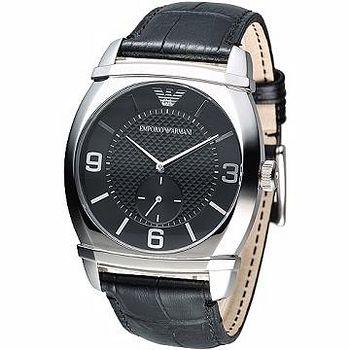 ARMANI 經典獨立小秒針男腕錶 -黑