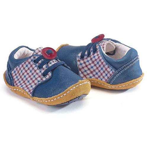 美國 Rileyroos 真皮手工鞋/學步鞋/童鞋/寶寶鞋/嬰兒鞋_藍色格子