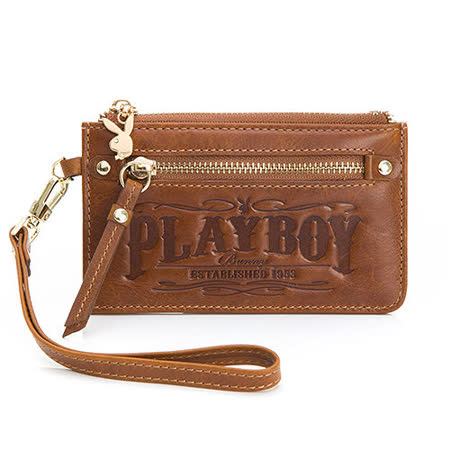 PLAYBOY- True 真我系列 手挽零錢包-曠野棕