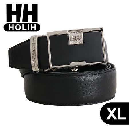 【HH】男用牛皮時尚自動釦式皮帶-XL(黑)