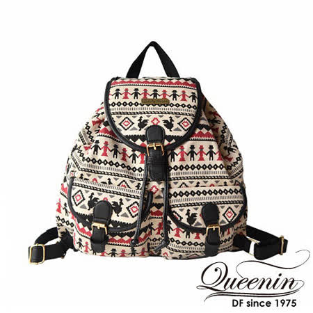 DF Queenin日韓 - 小文青藝術風帆布款後背包
