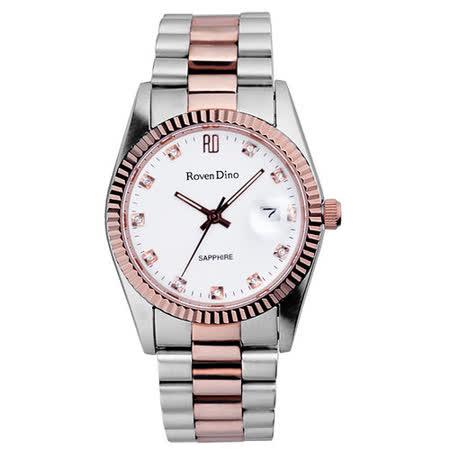 Roven Dino羅梵迪諾  尊貴階級時尚晶鑽腕錶-白X銀+玫瑰金
