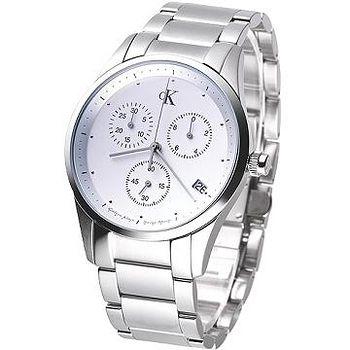 CK bold 時尚菁英三眼計時腕錶 (鋼帶)