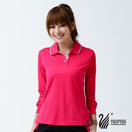 【遊遍天下】MIT台灣製女款運動休閒吸濕排汗機能POLO長衫L076玫紅