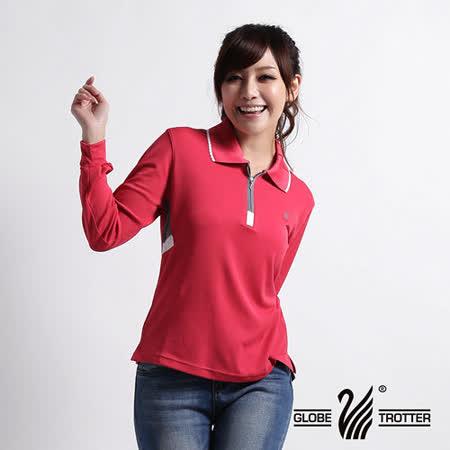【遊遍天下】MIT台灣製女款休閒吸濕排汗機能POLO長衫L077蕾絲紅