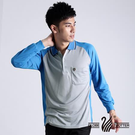 【遊遍天下】MIT台灣製男款運動休閒抗UV吸濕排汗機能POLO長衫NL006灰藍