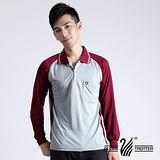 【遊遍天下】MIT台灣製男款運動休閒抗UV吸濕排汗機能POLO長衫NL006酒紅