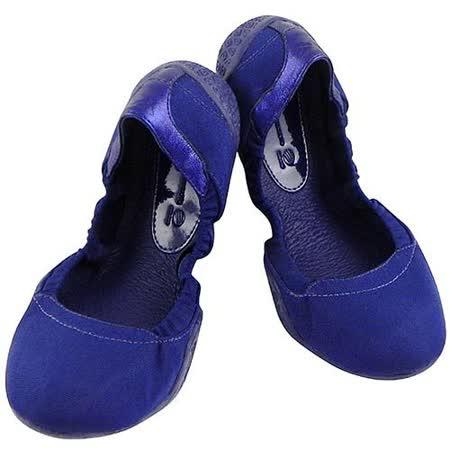 Y-3山本耀司 真皮弧形娃娃鞋-海軍藍色【女款US 5.5號】