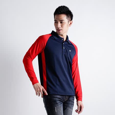 【遊遍天下】男款運動休閒抗UV吸濕排汗機能POLO長衫NL006丈青