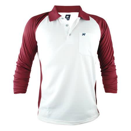 【遊遍天下】男款運動休閒抗UV吸濕排汗機能POLO長衫NL006白棗紅