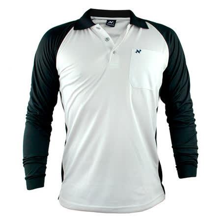 【遊遍天下】男款運動休閒抗UV吸濕排汗機能POLO長衫NL006白黑