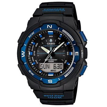 CASIO 戶外運動全新指針數位雙顯錶SGW-500系列 (藍)
