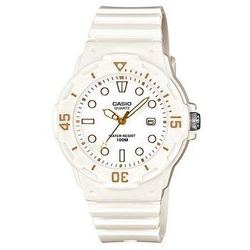 CASIO 魅力潛水風格型女腕錶 (白面/金色指針)