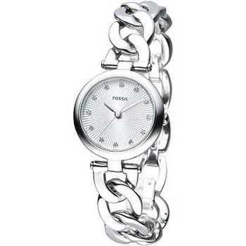 FOSSIL 摩登龐克風尚晶鑽手鍊錶 -銀色