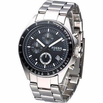 FOSSIL 型男運動風三眼計時腕錶 (黑)