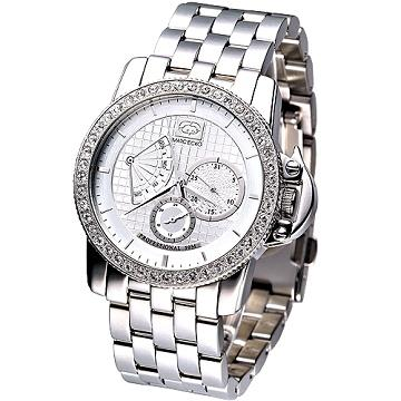 MARC ECKO 雅爵星期逆跳3環晶鑽腕錶^(二件式錶框 版^) ^(銀白^)