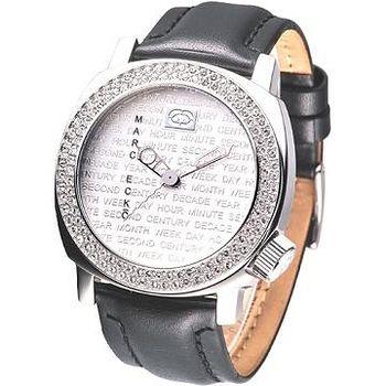 MARC ECKO 優質型男時尚晶鑽腕錶 (黑帶)
