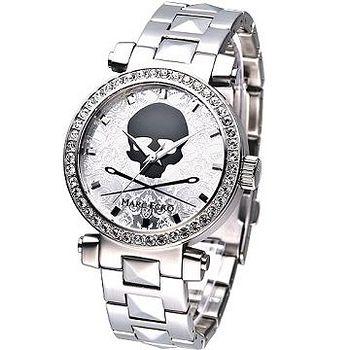 MARC ECKO 龐克戰士骷髏圖騰晶鑽腕錶 (銀)