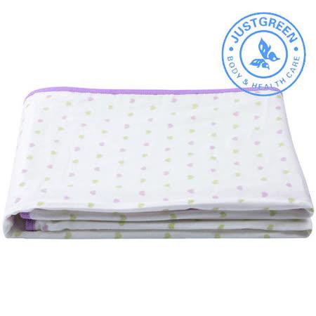 英國 JustGreen 嬰兒純棉紗布防漏尿墊 70x120cm (雙色心型紫邊)