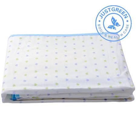 英國 JustGreen 嬰兒純棉紗布防漏尿墊 70x120cm (雙色心型藍邊)