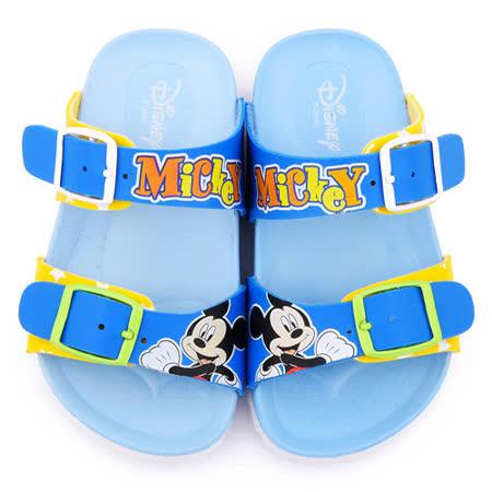 童鞋城堡-迪士尼 中小童 米奇輕量軟木風格拖鞋454755-藍