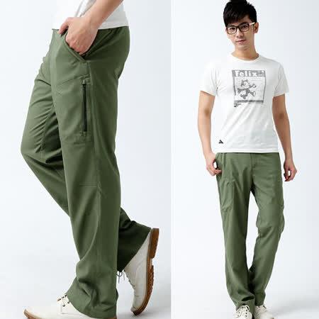 【遊遍天下】中性款吸濕排汗薄款商務休閒長褲P125墨綠