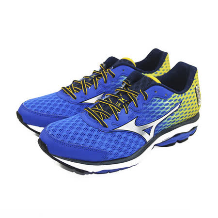 (男)MIZUNO 美津濃 WAVE RIDER 18 慢跑鞋 藍/黃-J1GC150304