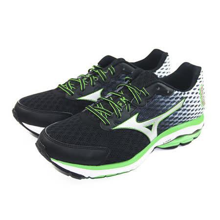 (男)MIZUNO 美津濃 WAVE RIDER 18 慢跑鞋 黑/螢光綠-J1GC150403