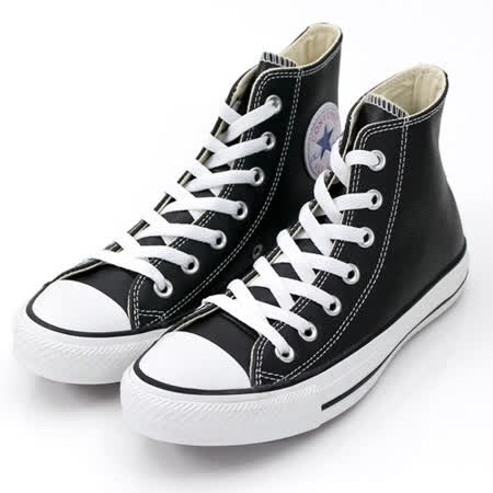 (U系列)CONVERSE Chuck Taylor All Star Leather 帆布鞋 黑/白-132170C