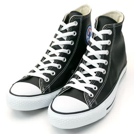 (U系列)CONVERSE Chuck Taylor All Star Leather 帆布鞋 黑/白-1S581