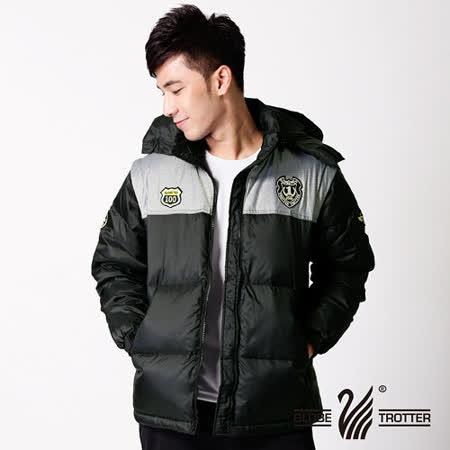 【遊遍天下】男款JIS90%耐寒防潑水連帽羽絨外套(兩穿式可脫袖)1122黑