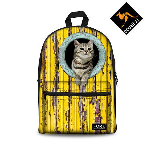 【DOUBLE JJ】FOR U動物系列11~13吋筆電/10吋平板兩用電腦休閒後背包(萌貓)