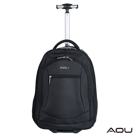 【AOU微笑旅行】商務型-拉桿後背包 電腦包(素面104-003)