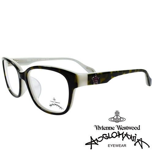 Vivienne Westwood 英國Anglomania五芒土星琥珀撞色光學眼鏡^(黑