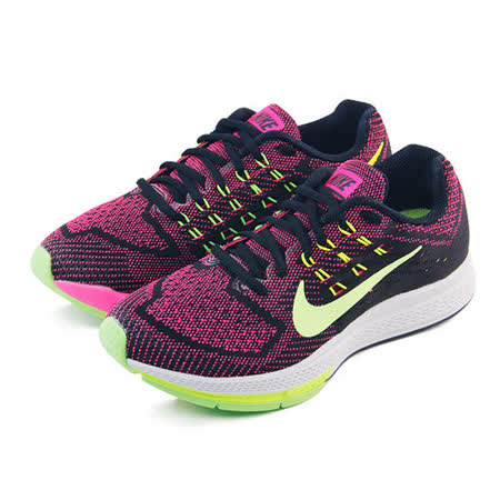 (女)NIKE W NIKE AIR ZOOM STRUCTURE 18 慢跑鞋 桃紅/黑/青檸-683737603