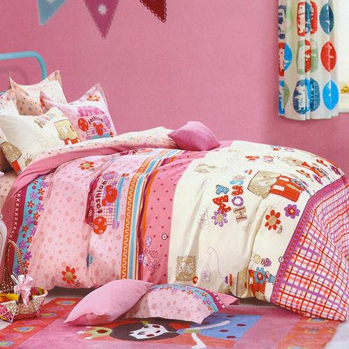 浪漫滿屋 雙人純棉四件式兩用被床包組