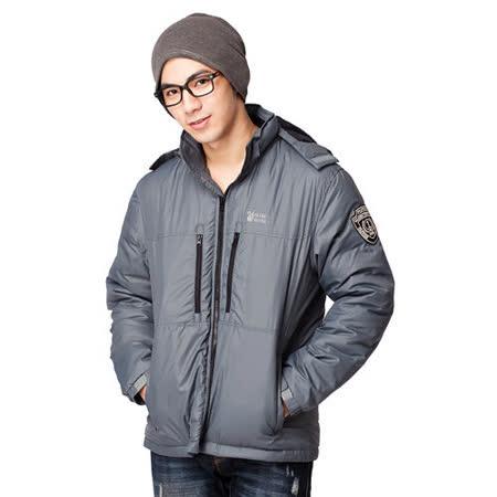 【遊遍天下】男款JIS90%羽絨輕暖時尚連帽防風防潑水外套A011灰