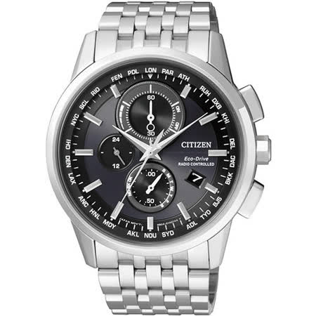 CITIZEN Eco-Drive 萬年曆 光動能三眼計時電波腕錶(黑-43mm) AT8110-61E