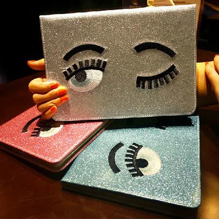 【iPad Air2皮套】法國潮牌眨眼睛刺繡閃粉iPad Air2皮套~支援休眠喚醒功能