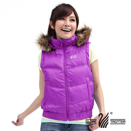【遊遍天下】女款JIS90%羽絨連帽羽絨背心A036紫