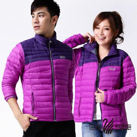 【遊遍天下】中性款JIS90%羽絨撞色輕暖羽絨外套A055紫