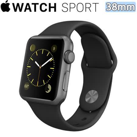 Apple WATCH SPORT 38mm/38公釐 A 太空灰鋁金屬錶殼 黑色運動型錶帶【含螢幕保護貼+專用錶套】(MJ2X2TA/A)