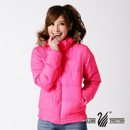 【遊遍天下】女款JIS90%羽絨極暖率性防風防潑水連帽羽絨外套A065玫紅